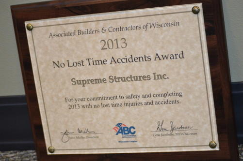 2013 No Lost Time Accidents Award ABC of Wisconsin